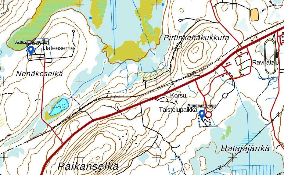 Kuvassa on esitetty poroteurastamon ja teurasjätemontun sijainnit kartalla